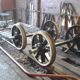 wheelsets and vacuum brake pipe in the workshop