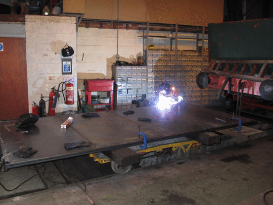 welding in progress on a door