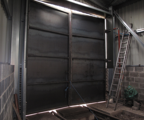 the doors from inside the building