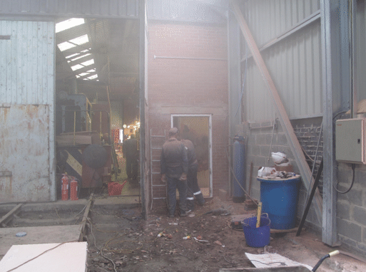 frame fitted for doorway into old workshop
